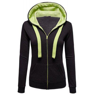 Autumn and Winter Wear Female Solid Color Splicing Zip Long Sleeve Hooded Pocket Cardigan