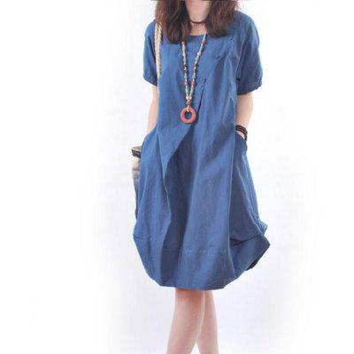 Solid Pockets Short Sleeve Knee-Length Shift DressMini Dresses<br>Solid Pockets Short Sleeve Knee-Length Shift Dress<br><br>Dresses Length: Knee-Length<br>Elasticity: Micro-elastic<br>Fabric Type: Cotton and kapok hemp<br>Material: Cotton, Linen<br>Neckline: Round Collar<br>Package Contents: 1xDress<br>Pattern Type: Solid<br>Season: Summer, Spring<br>Silhouette: A-Line<br>Sleeve Length: Sleeveless<br>Style: Casual<br>Weight: 0.2800kg<br>With Belt: No
