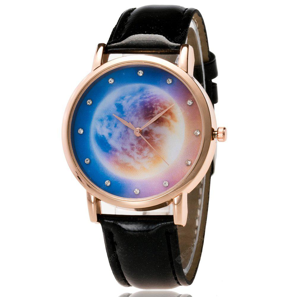 ZhouLianFa New Rose Gold Dial Crystal Pattern Planet Map Quartz Watch