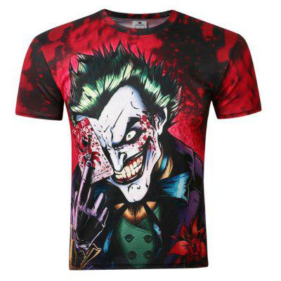 Men's Going Out Street Chic Print Round Neck Short Sleeves Cotton T-shirt