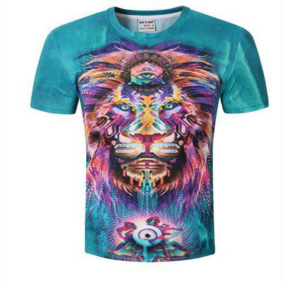 Men's Short Sleeve Polyester Casual Formal  Sport  Plus Sizes Print T-Shirt