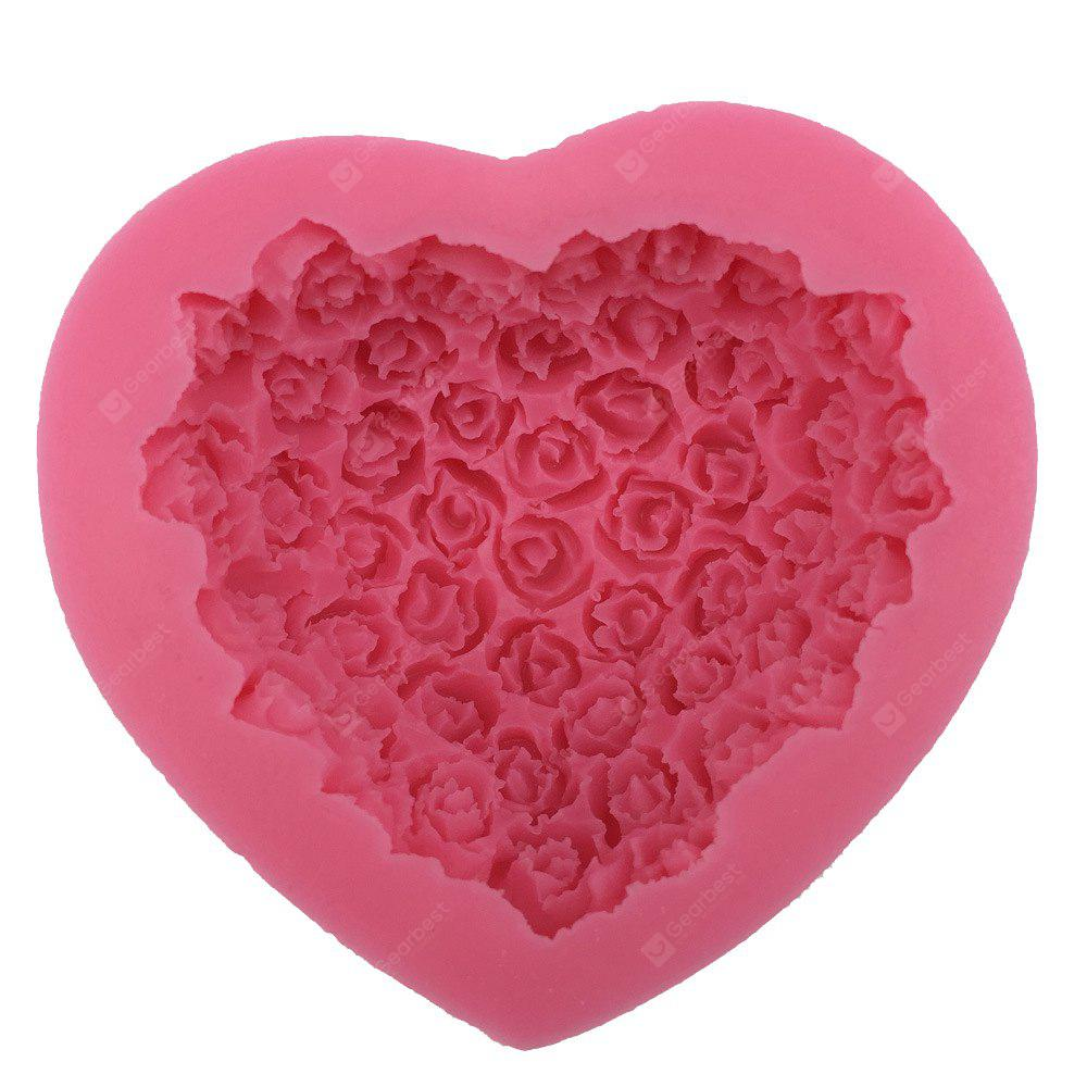 3D Handmade Soap Molds Silicone Cake Fandont Mold Heart Flower Rose Baking Tools