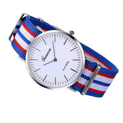 Geneva Simple Scale Dial Stripes WatchMens Watches<br>Geneva Simple Scale Dial Stripes Watch<br><br>Band material: Nylon<br>Case material: Alloy<br>Clasp type: Buckle<br>Display type: Analog<br>Movement type: Quartz watch<br>Package Contents: 1 x watch<br>Package size (L x W x H): 7.00 x 6.00 x 3.00 cm / 2.76 x 2.36 x 1.18 inches<br>Package weight: 0.0460 kg<br>Product size (L x W x H): 25.00 x 4.00 x 0.80 cm / 9.84 x 1.57 x 0.31 inches<br>Product weight: 0.0400 kg<br>Shape of the dial: Round<br>Watch mirror: Mineral glass<br>Watch style: Casual, Fashion, Cool, Military, Trends in outdoor sports, Outdoor Sports<br>Watches categories: Women,Male table