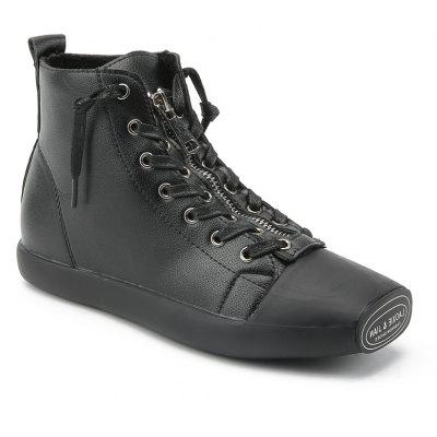 Buy Autumn And Winter Women Zipper High-Top Students Shoes BLACK 35 for $44.65 in GearBest store