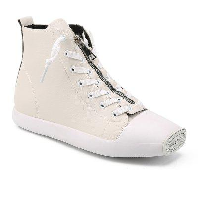 Buy Autumn And Winter Women Zipper High-Top Students Shoes WHITE 37 for $44.65 in GearBest store