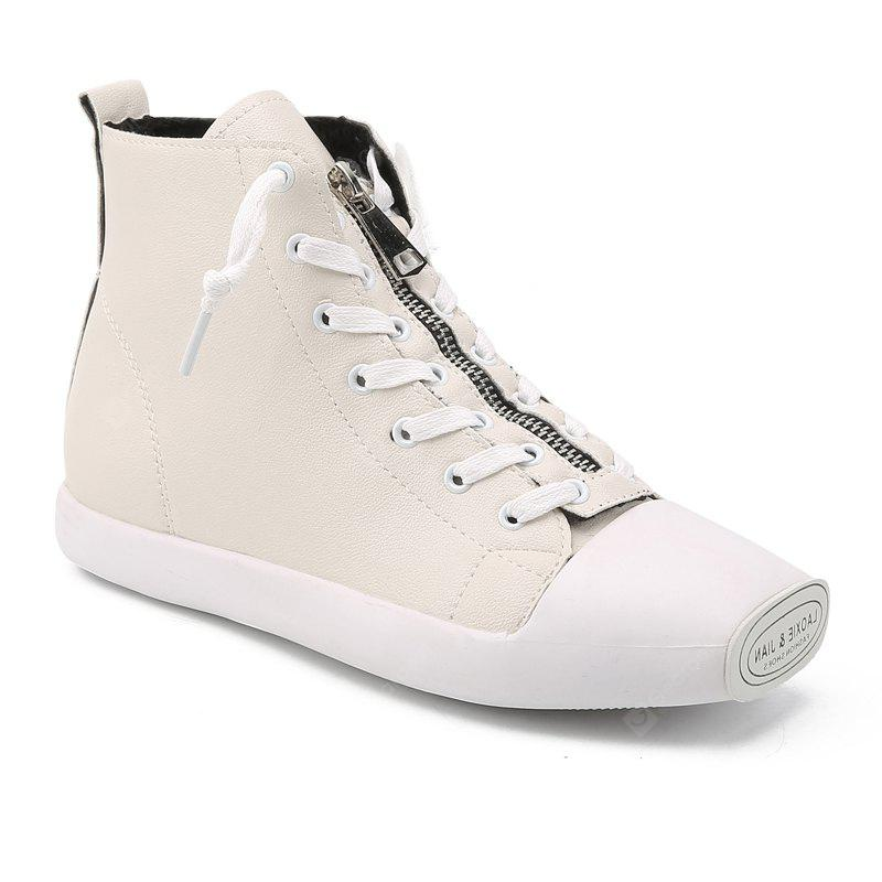 Autumn And Winter Women Zipper High-Top Students Shoes WHITE 39