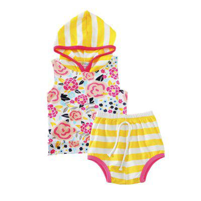 SOSOCOER Baby Girls Clothes Set Flower Printing Hooded Sleeveless T - Shirt + Striped Shorts Two Pieces
