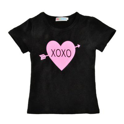 SOSOCOER Kids Girls Clothes Set Alphabetical Short Sleeved T - Shirt + Round Point Love Skirt Two PiecesGirls clothing sets<br>SOSOCOER Kids Girls Clothes Set Alphabetical Short Sleeved T - Shirt + Round Point Love Skirt Two Pieces<br><br>Brand: SOSOCOER<br>Collar: Round Neck<br>Material: Cotton, Polyester<br>Package Contents: 1 x T-shirt, 1 x Dress<br>Pattern Type: Heart<br>Shirt Length: Regular<br>Sleeve Length: Short<br>Style: The Princess<br>Weight: 0.1700kg