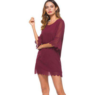 Spring New Fashion Loose Chiffon Plain DressBodycon Dresses<br>Spring New Fashion Loose Chiffon Plain Dress<br><br>Dresses Length: Knee-Length<br>Elasticity: Nonelastic<br>Embellishment: Spliced<br>Fabric Type: Chiffon<br>Material: Polyester<br>Neckline: Round Collar<br>Package Contents: 1xDress<br>Pattern Type: Solid<br>Season: Summer, Spring<br>Silhouette: A-Line<br>Sleeve Length: 3/4 Length Sleeves<br>Sleeve Type: Flare Sleeve<br>Style: Fashion<br>Waist: Natural<br>Weight: 0.2000kg<br>With Belt: No