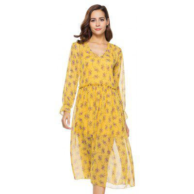 New Two-piece Long-sleeved Small Floral Long Dresses