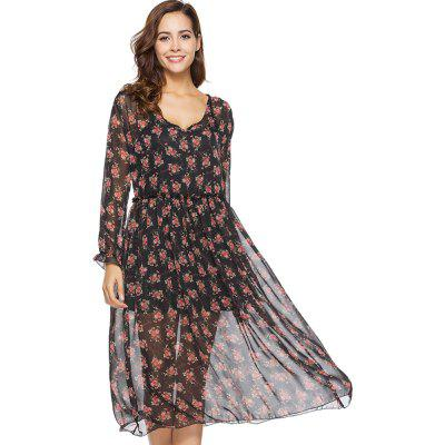 Spring New Two-piece Long-sleeved Small Floral Long Fashion Dresses