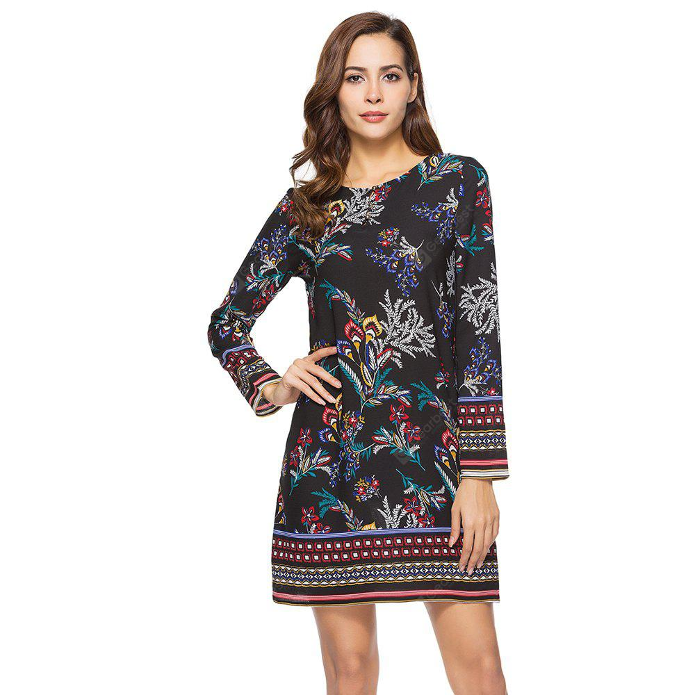 Spring Casual Round Neck Long Sleeve Floral Printed Loose Dress