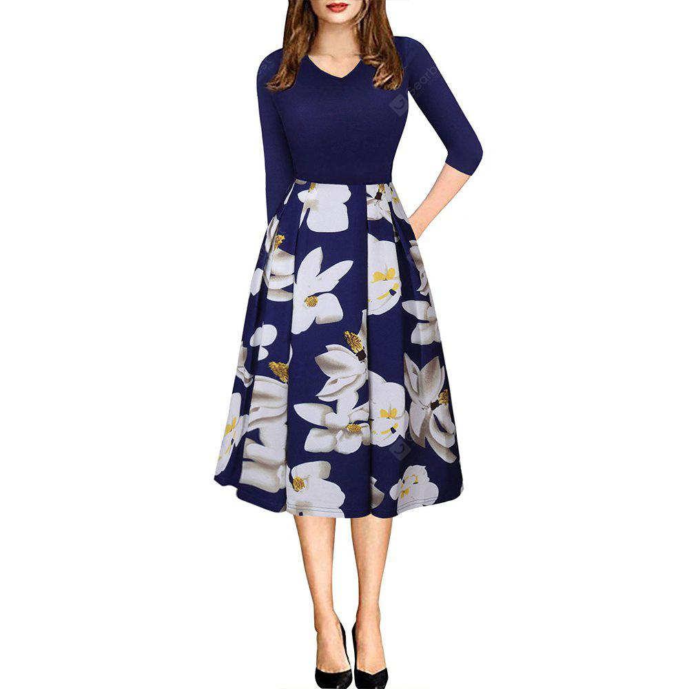 Spring Autumn 3/4 Sleeve Fashion Floral Printed Dress