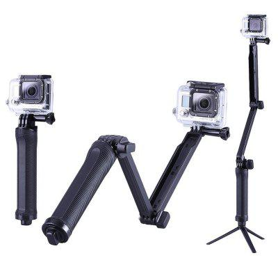 Collapsible Three-Way Monopod Selfie Stick Mount Camera Grip Extension Arm Tripod Stand for GoPro Hero 6/5/4/3/3+/SJ5000
