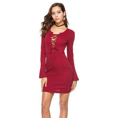 Cross Bandage Long Sleeved Knit DressBodycon Dresses<br>Cross Bandage Long Sleeved Knit Dress<br><br>Dresses Length: Mini<br>Elasticity: Elastic<br>Fabric Type: Broadcloth<br>Material: Polyester<br>Neckline: Plunging Neck<br>Package Contents: 1xDress<br>Pattern Type: Solid<br>Season: Summer<br>Silhouette: Sheath<br>Sleeve Length: Long Sleeves<br>Style: Fashion<br>Weight: 0.2900kg<br>With Belt: No