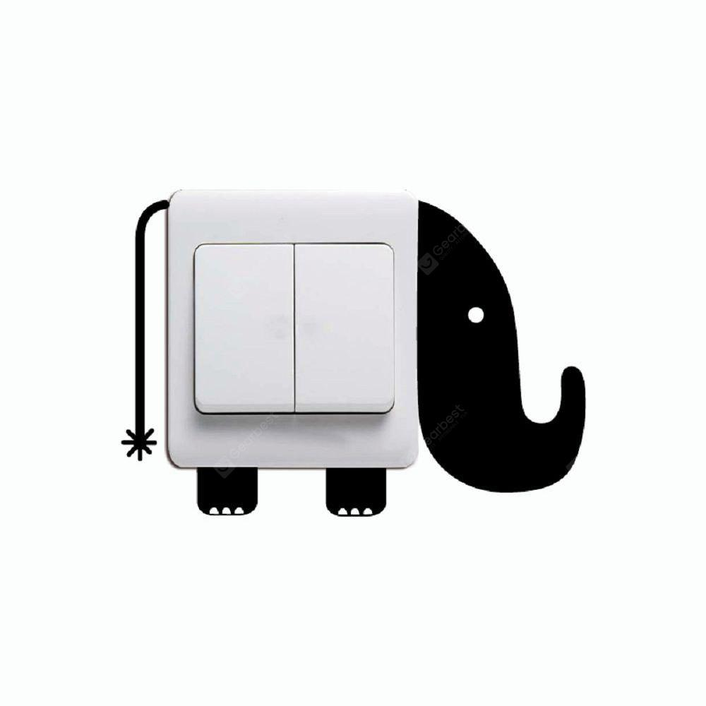 DSU Creative Elephant Light Switch Sticker Cartoon Animal Vinyl Wall Stickers