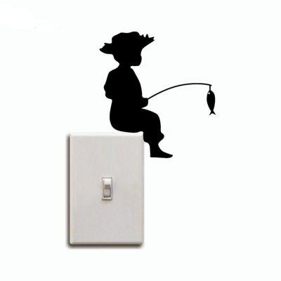 DSU Boy Fishing Silhouette Switch Sticker Cartoon Animals Vinyl Wall Stickers Home DecorWall Stickers<br>DSU Boy Fishing Silhouette Switch Sticker Cartoon Animals Vinyl Wall Stickers Home Decor<br><br>Art Style: Plane Wall Stickers, Toilet Stickers<br>Artists: Others<br>Brand: DSU<br>Color Scheme: Black<br>Effect Size (L x W): 12.7 x 11.7 cm<br>Function: Light Switch Stickers, Decorative Wall Sticker<br>Layout Size (L x W): 12.7 x 11.7 cm<br>Material: Vinyl(PVC)<br>Package Contents: 1 x Wall Sticker<br>Package size (L x W x H): 15.00 x 14.00 x 1.00 cm / 5.91 x 5.51 x 0.39 inches<br>Package weight: 0.0300 kg<br>Product size (L x W x H): 12.70 x 11.70 x 0.01 cm / 5 x 4.61 x 0 inches<br>Product weight: 0.0200 kg<br>Quantity: 1<br>Subjects: Fashion,Letter,Cute,Cartoon,Famous,Game<br>Suitable Space: Living Room,Bedroom,Hotel,Kids Room,Entry,Kitchen,Pathway,Door,Corridor,Hallway,Boys Room,Game Room<br>Type: Plane Wall Sticker