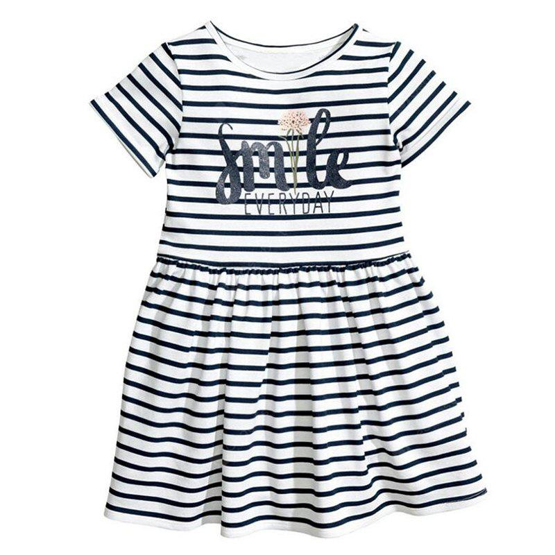 2018 Summer New Girl Dress English Alphabet Stripes Short-Sleeved Kids Princess Dress