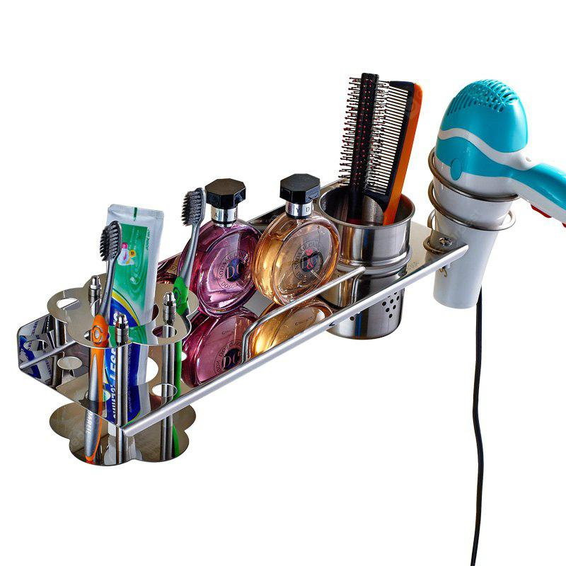 Stainless Steel Wall-mounted Bathroom Storage Shelf 4in1 for Toothbrush Hair Dryer Towel Comb