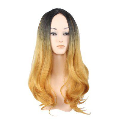 Lady Long pelo rizado negro gradiente Golden Big Wave encanto moda Hot peluca