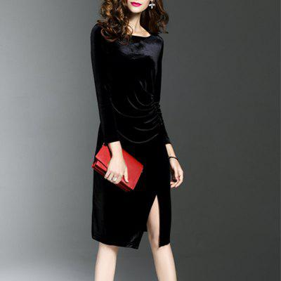 Autumn And Winter Velvet Sexy  DressBodycon Dresses<br>Autumn And Winter Velvet Sexy  Dress<br><br>9817: None<br>Dresses Length: Mid-Calf<br>Elasticity: Micro-elastic<br>Fabric Type: Velour<br>Material: Acetate<br>Neckline: Round Collar<br>Package Contents: 1xDress<br>Pattern Type: Patchwork<br>Season: Spring, Fall<br>Silhouette: A-Line<br>Sleeve Length: Long Sleeves<br>Style: Fashion<br>Weight: 0.3000kg<br>With Belt: No