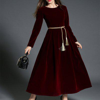 Long-sleeved Velvet  DressSleeveless Dresses<br>Long-sleeved Velvet  Dress<br><br>3171: None<br>Dresses Length: Floor-Length<br>Elasticity: Nonelastic<br>Fabric Type: Velour<br>Material: Polyester<br>Neckline: Round Collar<br>Package Contents: 1xDress<br>Pattern Type: Solid<br>Season: Spring<br>Silhouette: A-Line<br>Sleeve Length: Long Sleeves<br>Style: Fashion<br>Waist: Natural<br>Weight: 0.8500kg<br>With Belt: Yes
