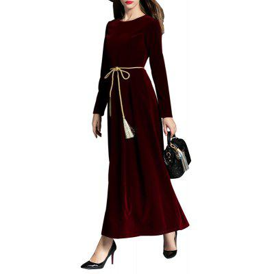 Buy Long-sleeved Velvet Dress WINE RED L for $48.25 in GearBest store