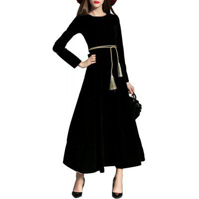 Buy Long-sleeved Velvet Dress BLACK S for $48.25 in GearBest store