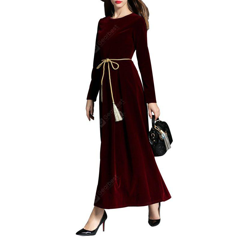 Long-sleeved Velvet Dress WINE RED L