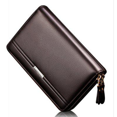 Wallets with Coin Pocket for Men Double Zipper