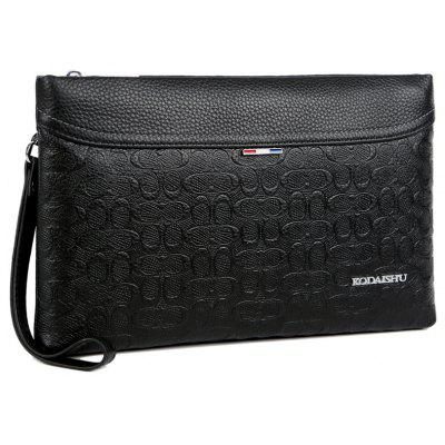 Men'S Real Leather Envelope Bag -  BLACK