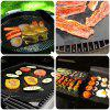 Heavy-duty Non-stick PTFE BBQ Grill Mat Oven Liner Reusable and Refractory Barbecue Grilling and Baking Pads 2-Pack - BLACK