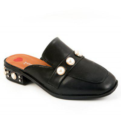 Retro Rough Heel Pearl Cool Slippers