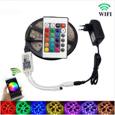 KWB WiFi Controller 5050 RGB LED Strip Light 60LED/m Neon Lamp Decor Tape Diode Ribbon DC 12V Adapter