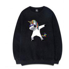 Round Collar with A Rainbow Horse Print Sweatershirts
