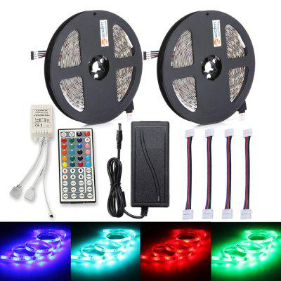 ZDM 2PCS 150 x 5050 RGB LED Light Strip 44Key Telecomando IR12V 6A Alimentazione con 4PCS RGB Linea di collegamento
