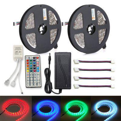 ZDM 2PCS 5M 150x5050 Waterproof RGB LED Strip Light 44Key IR Controller 12V 6A Power Supply with 4PCS Connecting line