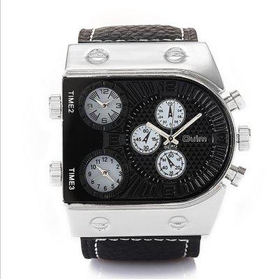 Men's Watches in European and American Fashion Three Time Zone
