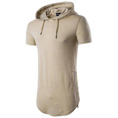 Men's Casual Daily Hooded T-shirt Zíper Sólido