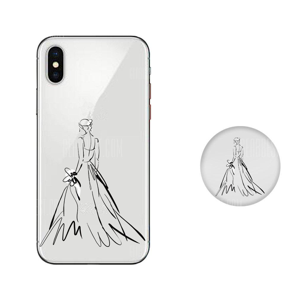 Case for iPhone X with Cell Phone Universal Stand Telescopic Airbag Support Beautiful Girl Pattern Bracket
