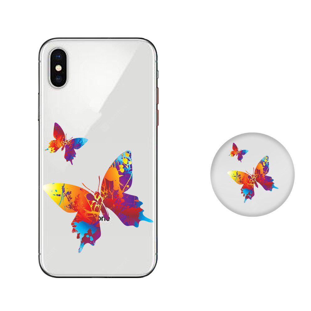 Case for iPhone X with Cell Phone Universal Stand Telescopic Airbag Support Color Butterfly Pattern Bracket