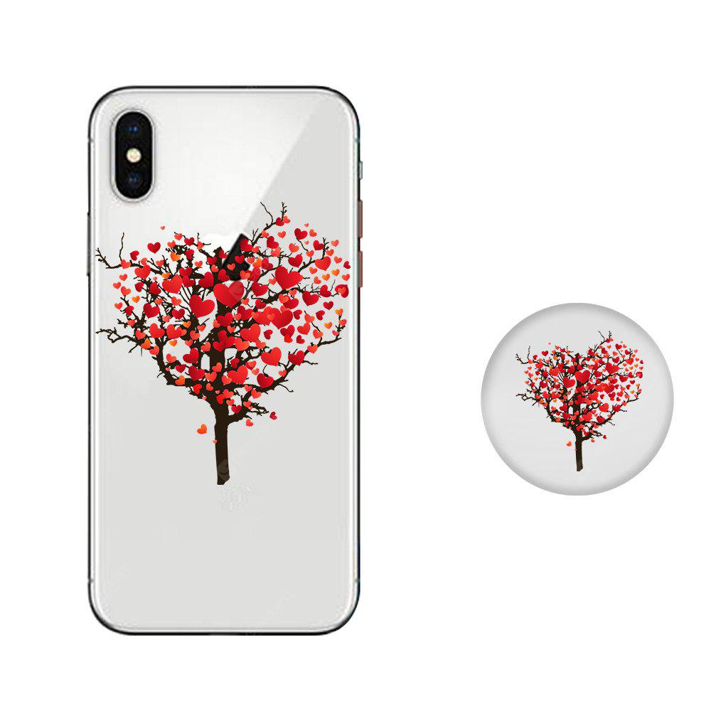 Case for iPhone X with Cell Phone Universal Stand Telescopic Airbag Support Love Tree Pattern Bracket