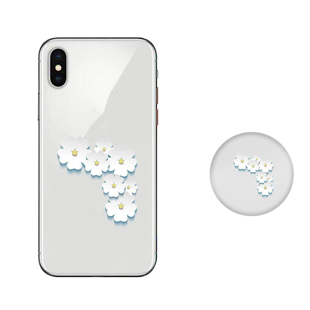 Case for iPhone X with Cell Phone Universal Stand Telescopic Airbag Support White Flowers Pattern Bracket