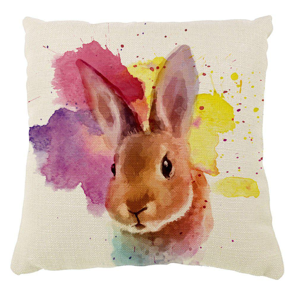 The Rabbit Color Ink Hand-Painted Cotton Cushion Cover Hug Pillow16inch x16inch