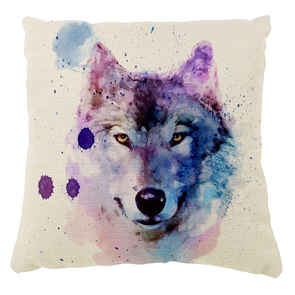 The Wolf Pattern Color Ink Hand-Painted Art Cushion Hug Pillowcase16inch x16inch