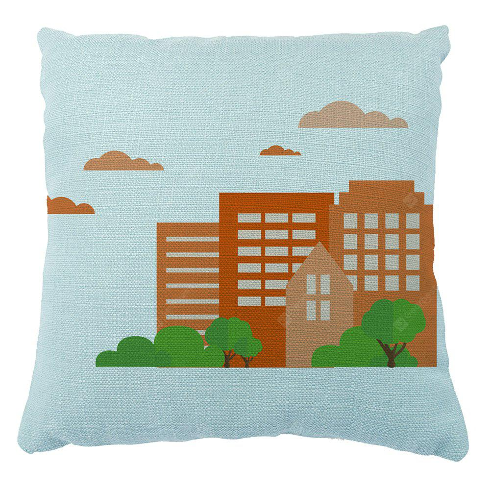 Color Simplified Stereoscopic City Silhouette Cushion Pillowcase16inchx16inch