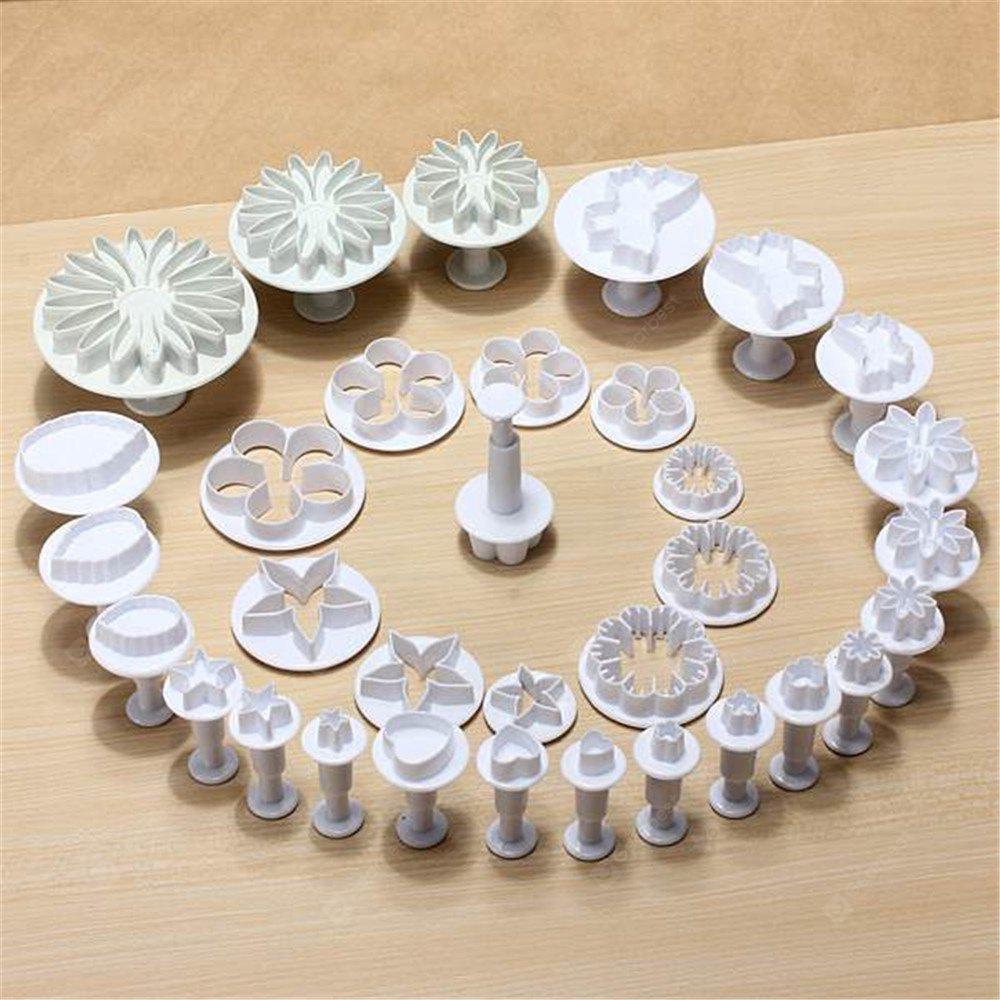 DIY Tools Decorating Cake Pastry Plunger Cutters Home Fondant Cookie Chocolate Sugarcraft Baking Moulds 33PCS