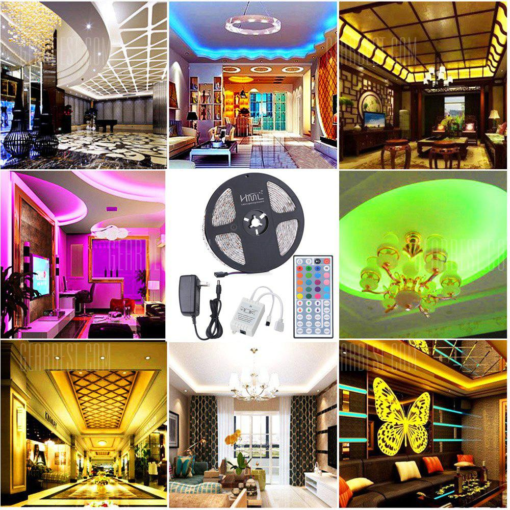 HML 5M Waterproof 72W 5050 RGB LED Strip Light with 44 Keys Remote Control And US Power Adapter