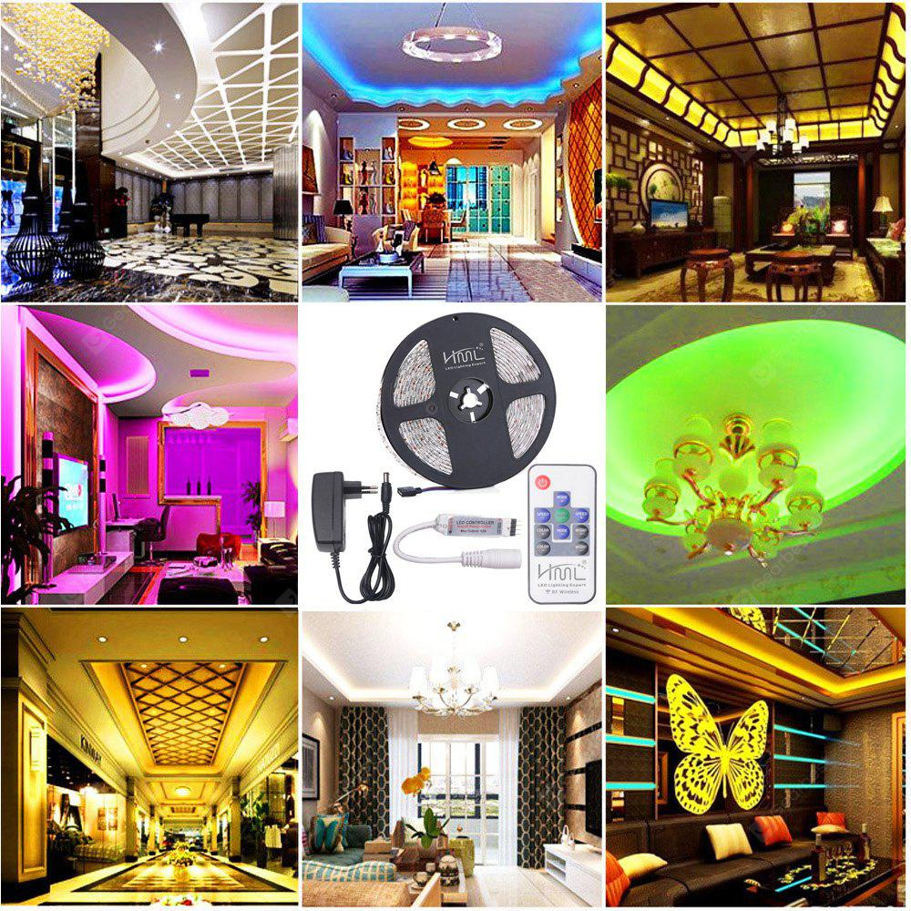 HML 5M Waterproof 72W 5050 RGB LED Strip Light with RF 10 Keys Remote Control And EU Power Adapter