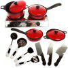 Kids Classic Pretend Play Kitchen Toys Children Funny Simulation Utensils Cooking Pots Dishes House Game 13PCS - COLORMIX